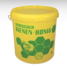 Plastik-Honigeimer, gelb mit Druck, 12,5 kg